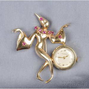14kt Gold and Ruby Brooch Watch