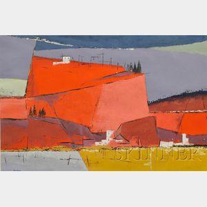 Philip Burhnam Hicken  (American, 1910-1985)      The Red Cliff