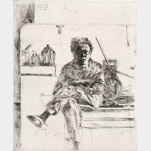 Avigdor Arikha (French/Israeli, 1929-2010)      Mirror with Self-Portrait and Press