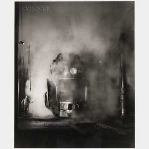 O. Winston Link (American, 1914-2001)      Washing J Class 605, Shaffer's Crossing Yards, Roanoke, Virginia