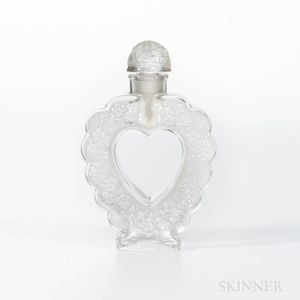 "Lalique for Nina Ricci ""Coeur-Joie"" Molded Glass Heart Perfume"