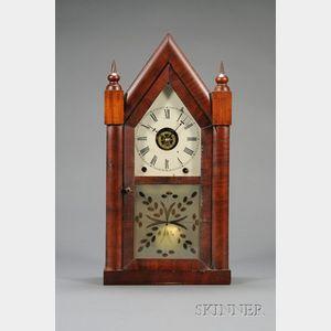 """Mahogany Sharp Gothic or """"Steeple Clock,"""" Jerome and Company"""
