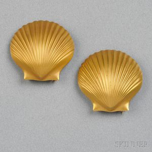 Pair of 14kt Gold Dress Clips, Tiffany & Co.