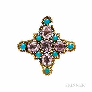 Late Georgian Gold and Pink Topaz Brooch