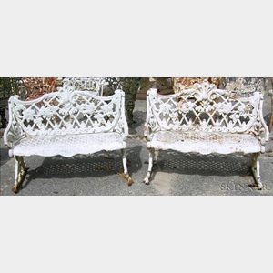 Pair of White Painted Cast Iron Garden Seats