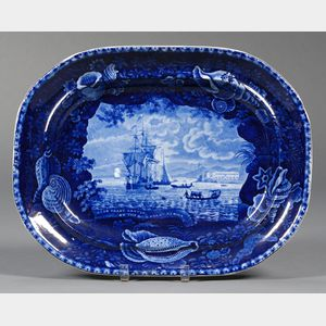 Historic Blue and White Transfer-decorated Staffordshire Platter