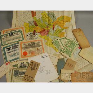 Approximately Seventy Circa 1901 Stock Certificates and Related Correspondence and   Ephemera