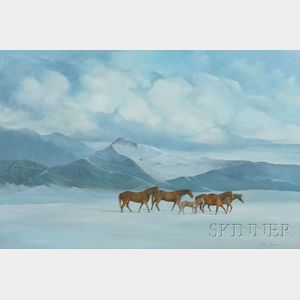 American School, 20th Century      Horses in a Winter Mountain Landscape