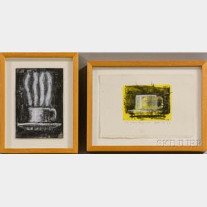 Aaron Fink (American, b. 1955)      Two Small Paintings of Coffee Cups in Yellow and Black