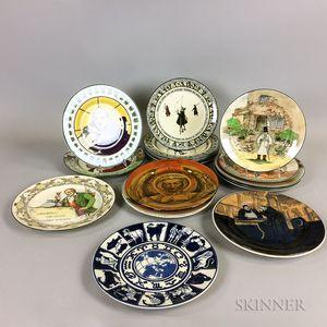 Nineteen Doulton Transfer-decorated Ceramic Plates