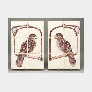 Pair of Delft Parrot Design Tile Plaques