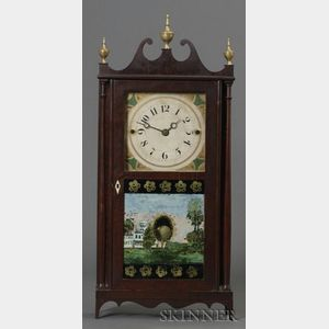 Mahogany Pillar and Scroll Shelf Clock
