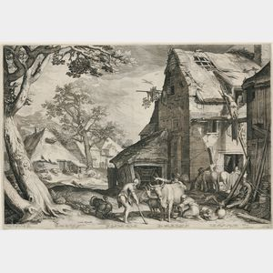 Jan Pietersz Saenredam (Dutch, 1565-1607), After Abraham Bloemaert (Dutch, c. 1564      -1651)    The Prodigal Son as Swineherd