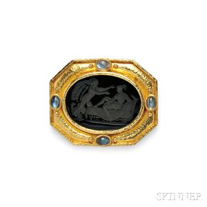 18kt Gold, Glass Intaglio, and Moonstone Pendant/Brooch, Elizabeth Locke