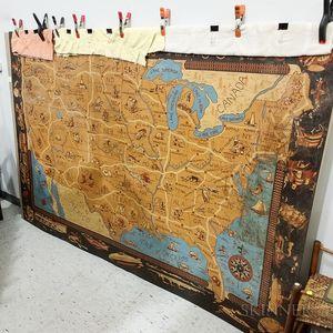 Large United States Painted Linoleum Floor Covering