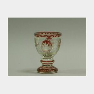 Bohemian Etched Ruby Flash Glass Goblet.