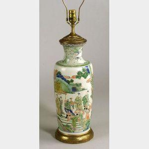 Chinese Famille Verte Porcelain Lamp Base.