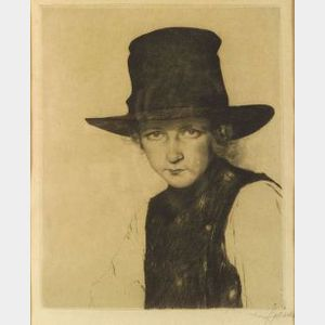 Lot of Three Portrait Etchings:  William Auerbach-Levy (American, 1889-1964), Profile of a Man
