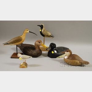 Three Carved and Painted Wood Duck Decoys and Three Shorebird Figures