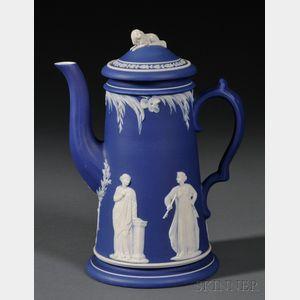 Wedgwood Dark Blue Jasper Dip Coffeepot and Cover