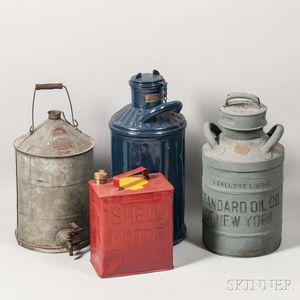 Four Automobile Oil Cans