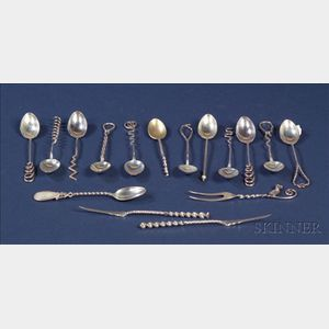 Sixteen Small Sterling Twisted Stem Flatware Articles