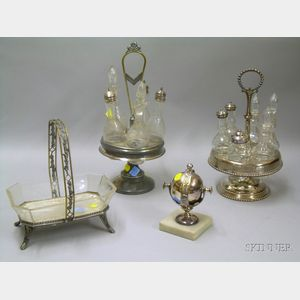 Four Victorian Silver Plated and Glass Table Articles