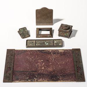 Six Tiffany Studios Art Glass and Bronze Desk Items