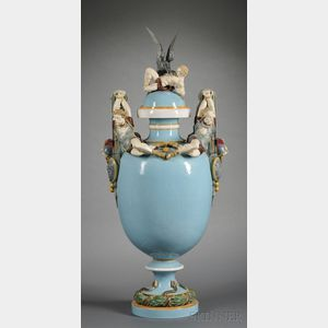 Sold for: $26,070 - Minton Majolica Prometheus Bound Vase and Cover