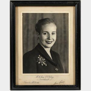 Perón, Juan (1895-1974) and María Eva Duarte de Perón (1919-1952) Signed Photographs.