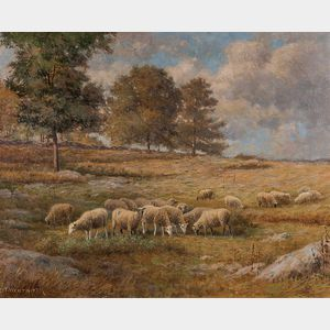 Daniel F. Wentworth (American, 1850-1934)      Sheep Grazing in a Connecticut Field