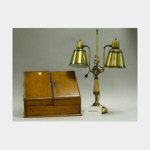 Victorian Walnut Desk Box and Two Brass Desk Lamps.