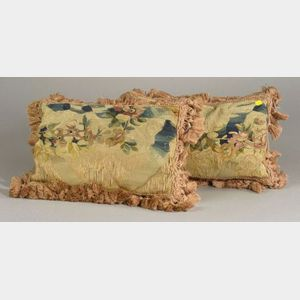 Two Verdure Tapestry Covered Cushions with Tassels.