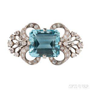 Palladium, Aquamarine, and Diamond Brooch, Tiffany & Co.