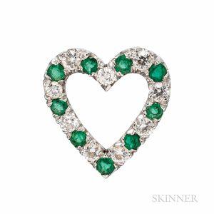 Emerald and Diamond Heart Pendant