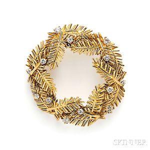 18kt Gold and Diamond Wreath Brooch, Tiffany & Co.