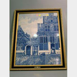 Framed Delft Scenic Ceramic Tile Plaque.
