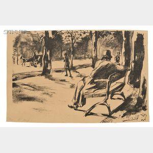 Lesser Ury (German, 1861-1931)      Im Tiergarten (Lesender)