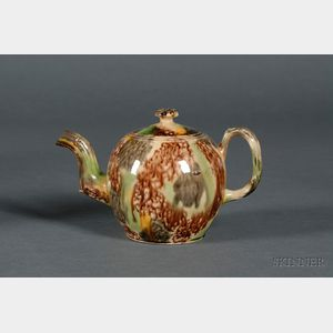 Staffordshire Lead Glazed Tortoise Shell Teapot and Cover