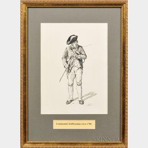 Framed Original Don Troiani Pen and Ink Study of a Continental Artilleryman