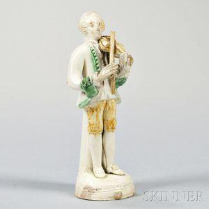 Staffordshire Lead-glazed Creamware Figure of a Violinist