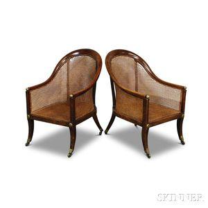 Pair of Regency Caned Elmwood Barrel-back Armchairs