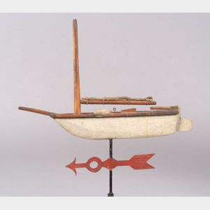 Painted Wood and Copper Sailboat Weathervane