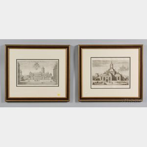 Four Framed Architectural Book Plate Engravings