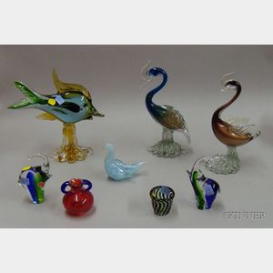 Eight Figural Italian Art Glass Sculptures and Decorative Items