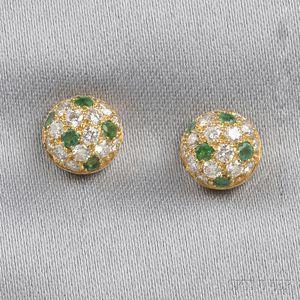18kt Gold, Emerald, and Diamond Earstuds, Cartier