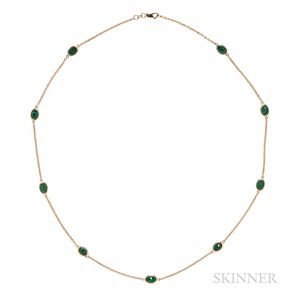 14kt Gold and Emerald Chain
