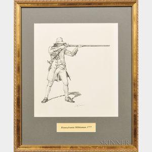 Framed Original Don Troiani Pen and Ink Figure Study of a Pennsylvania Militiaman