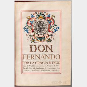Ferdinand VI, King of Spain (1713-1759) Signed Grant of Nobility for Don Manuel Cantero, 3 September 1753.