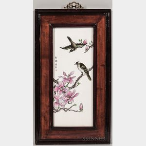 Framed Enameled Porcelain Plaque